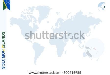 Solomon Islands World Map.Royalty Free Stock Illustration Of World Map Magnifying On Solomon