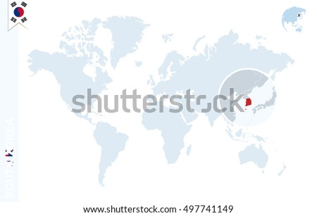 South Korea In World Map.World Map Magnifying On South Korea Stock Illustration Royalty