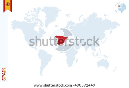 World Map Magnifying On Spain Blue Stock Illustration Royalty Free