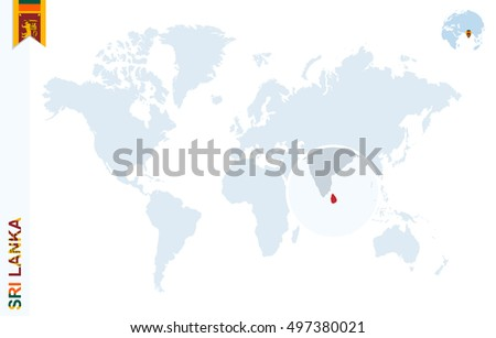 World Map Magnifying On Sri Lanka Stock Illustration Royalty Free