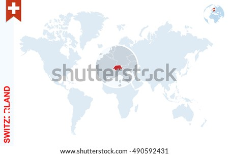 World Map Magnifying On Switzerland Blue Stock Illustration