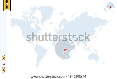 World Map Magnifying On Uganda Blue Stock Illustration 494190574 ...