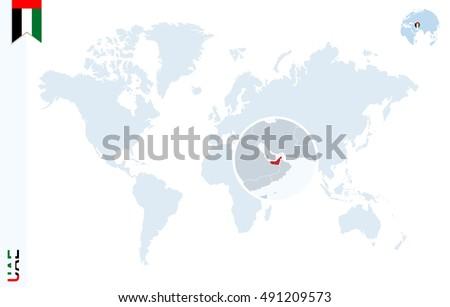 World Map Magnifying On United Arab Stock Illustration 491209573 ...
