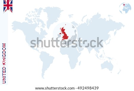 World Map Magnifying On United Kingdom Stock Illustration 492498439