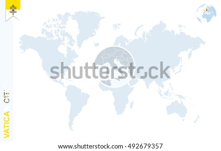 Vatican City On World Map.World Map Magnifying On Vatican City Stock Illustration Royalty