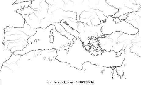 World Map of MEDITERRANEAN SEA REGION:  South Europe (Spain, French Riviera, Italy, Balkans, Greece), Asia Minor (Turkey), Near East (Levant), North Africa (Egypt, Libya, Morocco).  Geographic chart.