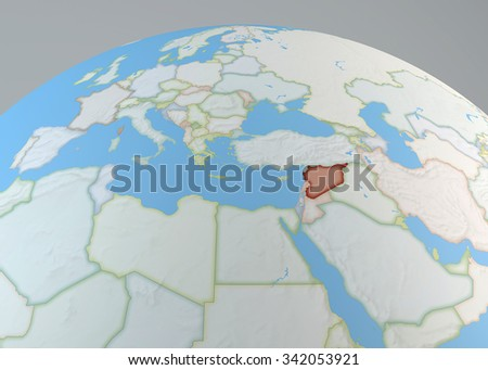 World Map Middle East Syria Highlighted Stock Illustration 342053921 ...