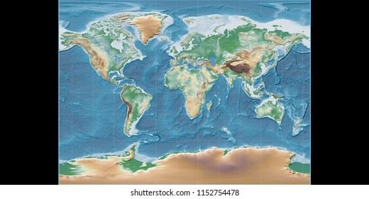 World map in the Miller Cylindrical projection centered on 11 East longitude. Colored shader, elevation map - raw composite of raster with graticule