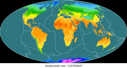 Temperature map images stock photos vectors shutterstock world map in the mollweide projection centered on 11 east longitude mean annual temperature map freerunsca Images