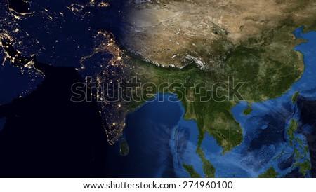 World Map Montage Asia Day Night Stock Illustration 274960100 ...