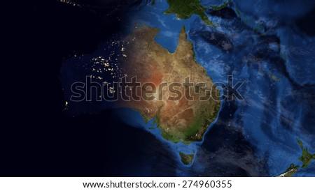 Australia Underwater Map.World Map Montage Australia Day Night Stock Illustration 274960355