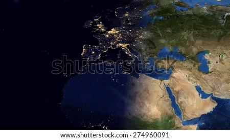 World Map Montage Europe Day Night Stockillustration 274960091 ...
