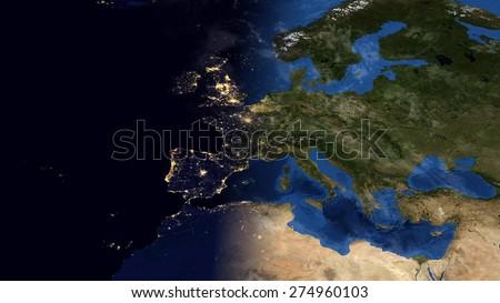 World Map Montage Europe Day Night Stockillustration 274960103 ...