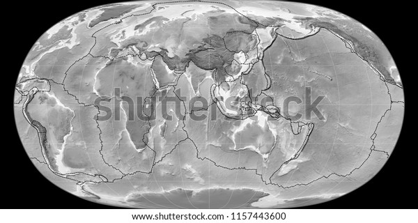 World Map Natural Earth Projection Centered Stock
