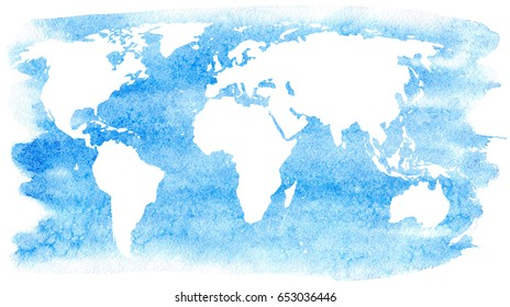 World map and ocean.Earth.Watercolor hand drawn illustration.White background