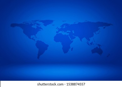 World map on Abstract Gradient Enchanted Blue Room Illustration Background, Suitable for Product Presentation and Backdrop. Elements of this Image Furnished by Nasa.