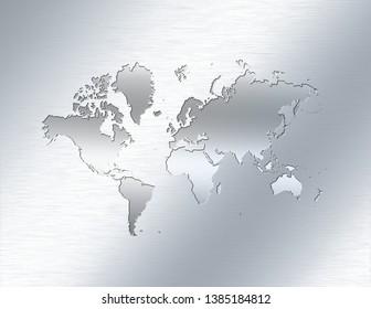 World map on aluminium background. 3D rendering