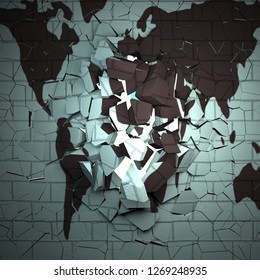 World map on a breaking wall, 3d rendering