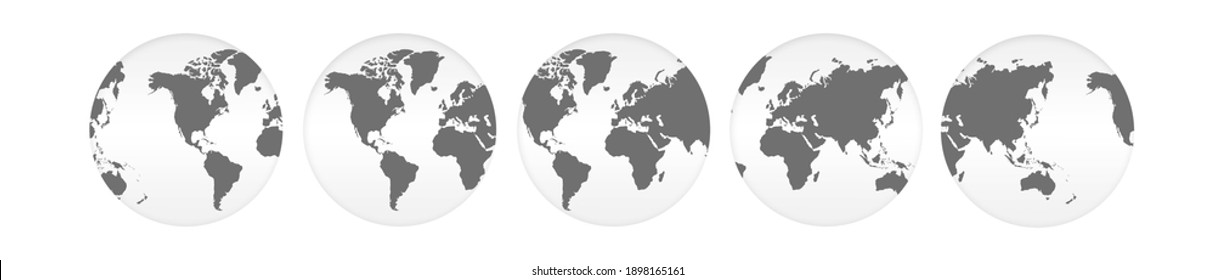world map on circle ball isolated with clipping path.