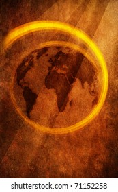 World map on grunge brown background. Illustration bitmap image.