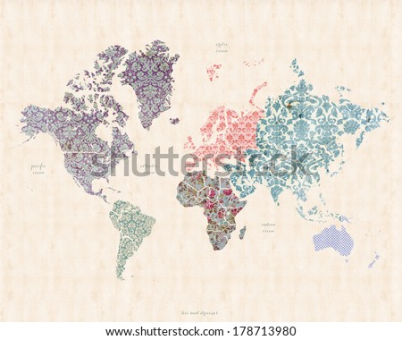 World Map On Linen Canvas Whimsical Stock Illustration - Royalty ...