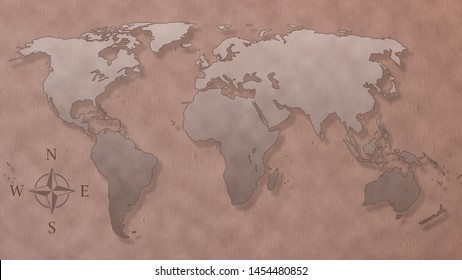 world map on old canvas