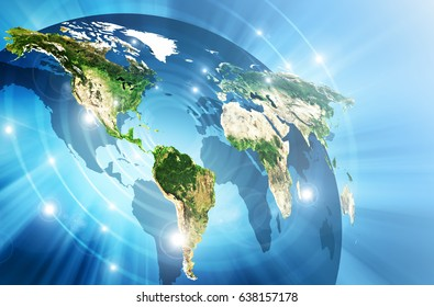 World map on a technological background, bright lines and rays, symbols Internet,  communications. Best Internet Concept of global business. Primary source and elements of this image furnished by NASA