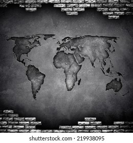 world map on wall