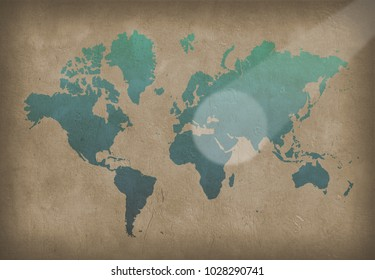 World map paint images stock photos vectors shutterstock world map painting in blue color on the wall 3d rendering gumiabroncs Choice Image