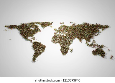 World map with people of different social and racial origins. 3D illustration.
