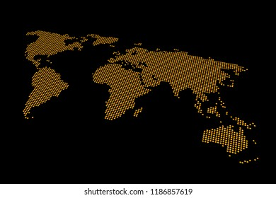 World Map, Perspective View, Isolated, Printed Orange on Black Carton Paper