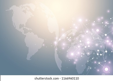World map point with global technology networking concept. Digital data visualization. Lines plexus. Big Data background communication. Scientific illustration