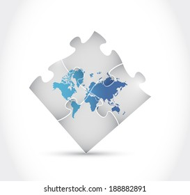 world map puzzle illustration design over a white background