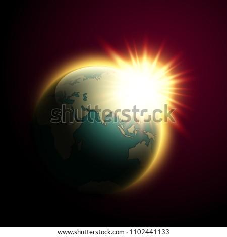 World Map Rising Sun Solar Eclipse Stock Illustration 1102441133