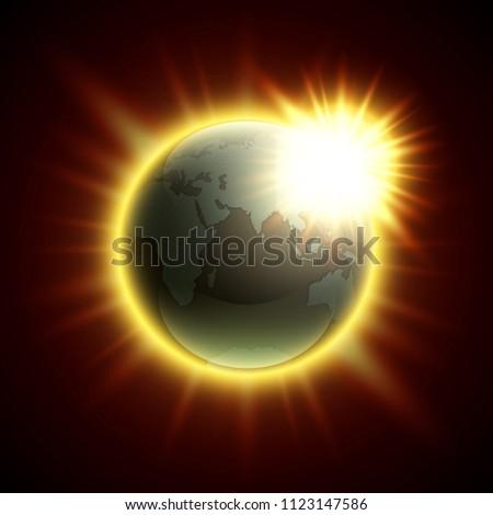 World Map Rising Sun Solar Eclipse Stock Illustration Royalty Free