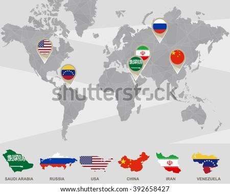 World Map Saudi Arabia Russia USA Stock Illustration - Royalty Free ...