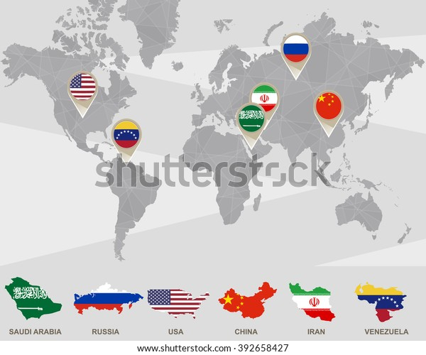 World Map Saudi Arabia Russia Usa Stockillustration 392658427