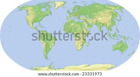 world map shaded relief map template stock illustration 23331973