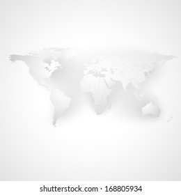 world map with the shadow on a gray  background illustration