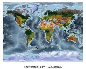 World Map showing land cover and shaded relief with a natural style and a relief shading of the oceans. Gall Stereographic projection