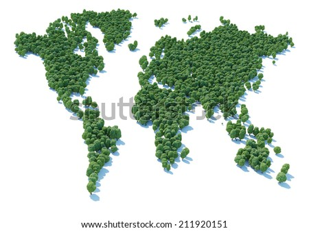 Royalty Free Stock Illustration Of World Map Sign Shaped Forest