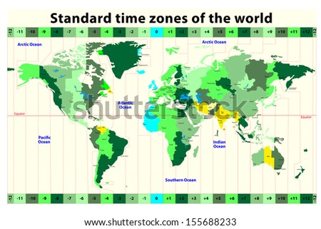 World Map Standard Time Zones Stockillustration 155688233 – Shutterstock