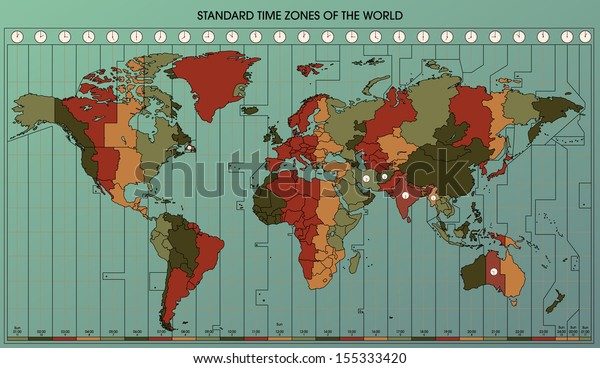 World Map Standard Time Zones Cartography Stock Illustration ...