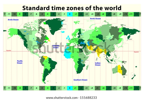 World Map Standard Time Zones Stockillustration 155688233