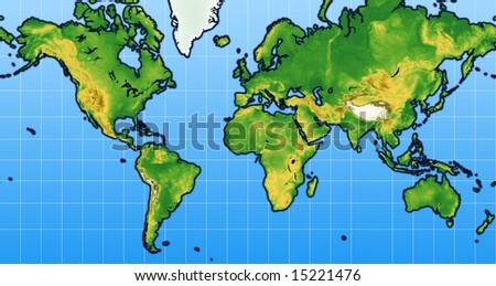 World Map Terrain Stock Illustration 15221476 Shutterstock
