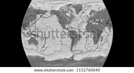 World Map Times Atlas Projection Centered Stock Illustration