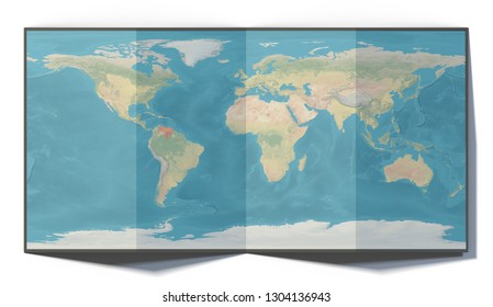 World map, Venezuela, drawn on a folded sheet, planisphere leaning on a surface, 3d rendering. Physical map