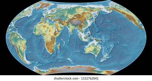 World map in the Wagner VIII projection centered on 90 East longitude. Topographic relief map - raw composite of raster with graticule