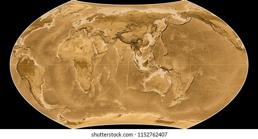 World map in the Wagner VIII projection centered on 90 East longitude. Sepia tinted elevation map - raw composite of raster with graticule