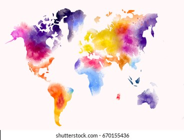 world map watercolor paint